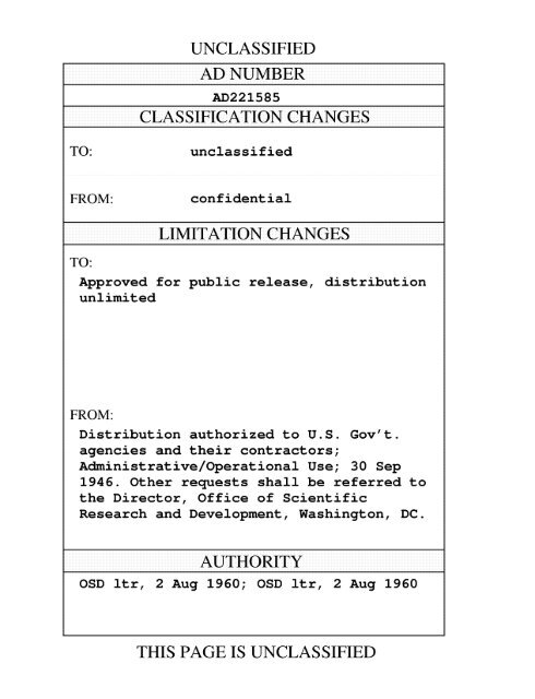 CLASSIFICATION CHANGES LIMITATION CHANGES