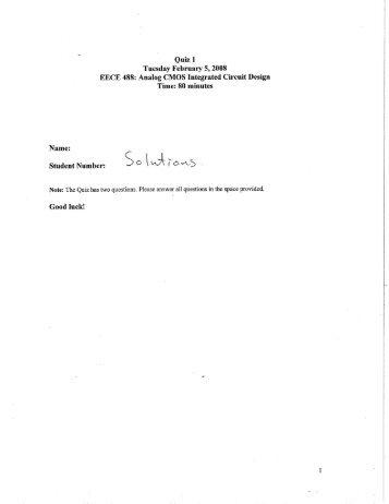 Quiz 1 Tuesday February 5, 2008 EECE 488: Analog ... - Courses