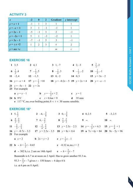 IGCSE Maths Answe