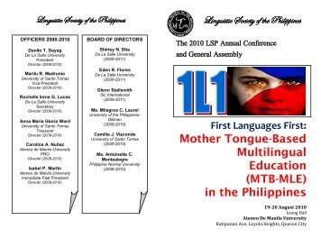 Mother Tongue-Based Multilingual Education (MTB-MLE) in the ...