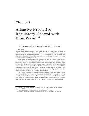 Adaptive Predictive Regulatory Control with BrainWave - Courses ...