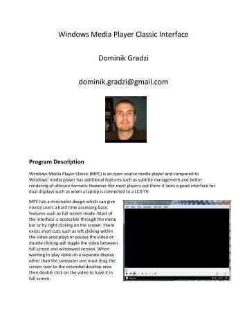 Windows Media Player Classic Interface Dominik Gradzi ... - Courses