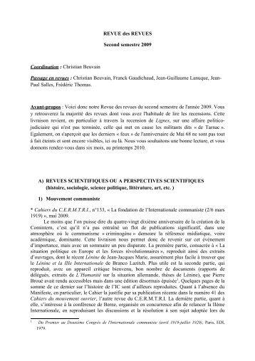 REVUE des REVUES Second semestre 2009 ... - Dissidences