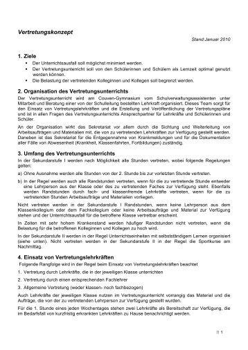 Vertretungskonzept - Couven-Gymnasium Aachen