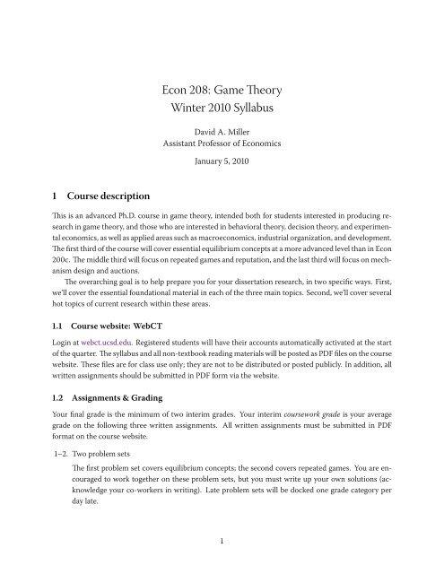 Econ 208 Game Theory Winter 2010 Syllabus - Courses