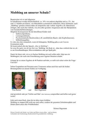 Mobbing an unserer Schule? - Couven-Gymnasium Aachen