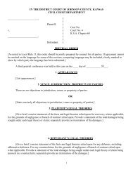 Pretrial Order - Johnson County District Court