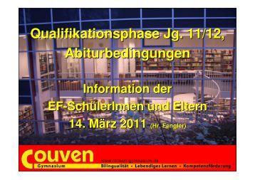 EF-Info für Q - Gesamtqualifikation, Zulassung - Couven-Gymnasium ...