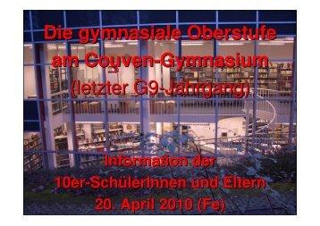 (G9): Einführung Oberstufe - Couven-Gymnasium Aachen
