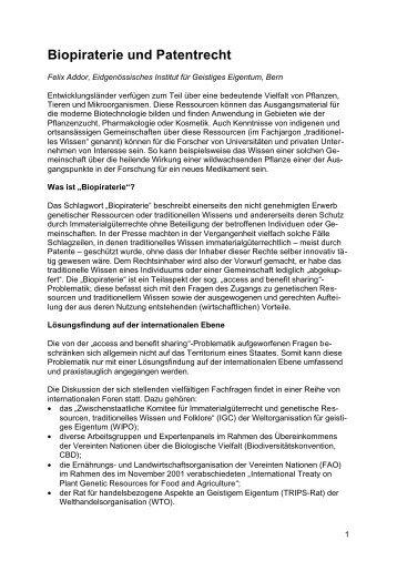 Biopiraterie und Patentrecht