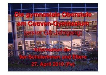(G8): Einführung Oberstufe - Couven-Gymnasium Aachen