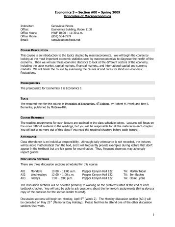 Economics 3 – Section A00 – Spring 2009 Principles of ... - Courses