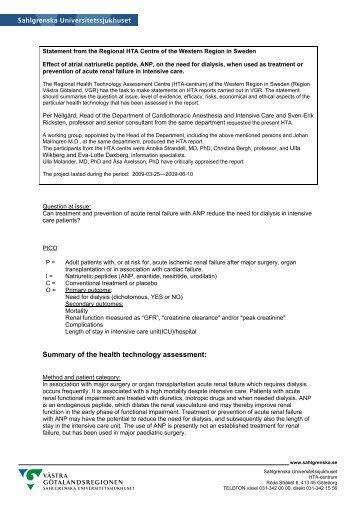 Summary of the health technology assessment: - Sahlgrenska ...