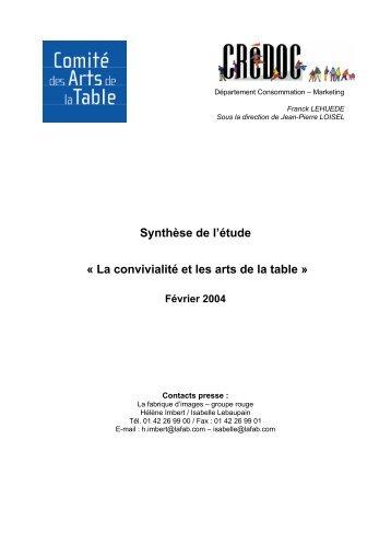 Synthèse de l'étude - Confédération des Arts de la Table