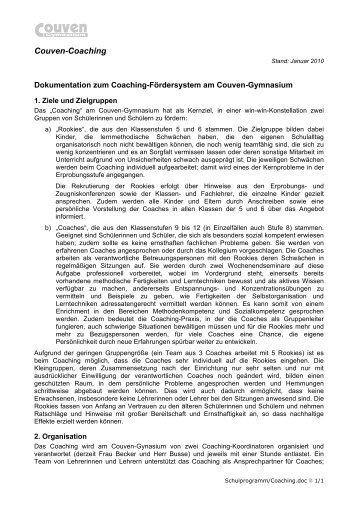 Couven-Coaching - Couven-Gymnasium Aachen
