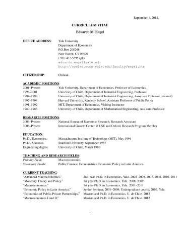 CURRICULUM VITAE Eduardo M. Engel - the Cowles Foundation ...