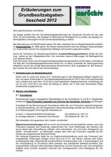 Erläuterungen Zum Abgabenbescheid 2012 Pdf Anröchte