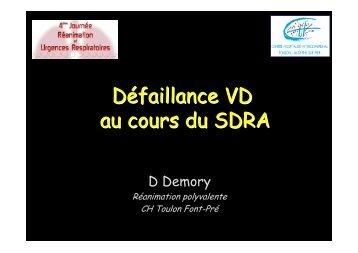 Défaillance ventriculaire droite au cours du SDRA - JRUR
