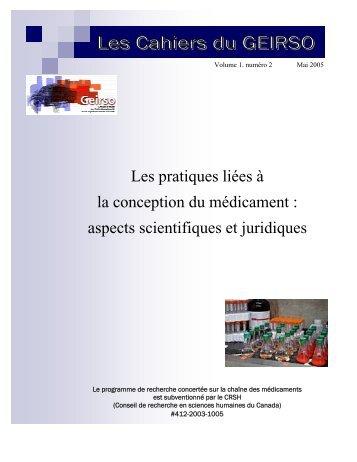 Volume 1, numéro 2, mai 2005 - Geirso - UQAM