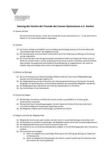 Satzung - Couven-Gymnasium Aachen