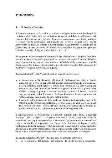 INTRODUZIONE 1. Il Progetto Excelsior Il Sistema Informativo ...