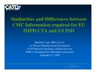 Similarities and Differences between CMC Information required for ...