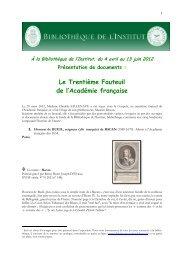 suivre ce lien - Bibliothèque de l'Institut de France