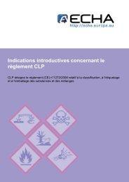 Indications introductives concernant le règlement ... - ECHA - Europa