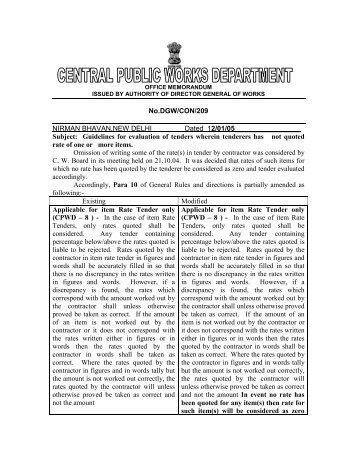OFFICE MEMORANDUM No.DGW/MAN/124 ISSUED BY ... - CPWD