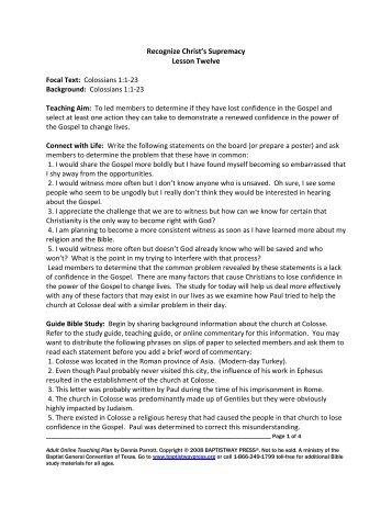 Recognize Christ's Supremacy Lesson Twelve ... - BaptistWay Press