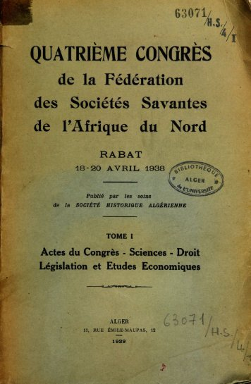 1939 Quatrième Congrès de la Fédération des Sociétés Savantes ...