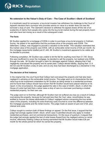 The Case of Scullion v Bank of Scotland - RICS