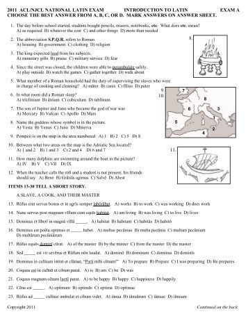 national latin exam answers