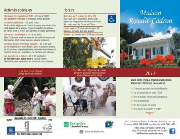 Maison Rosalie-Cadron • - Bonjour Québec.com
