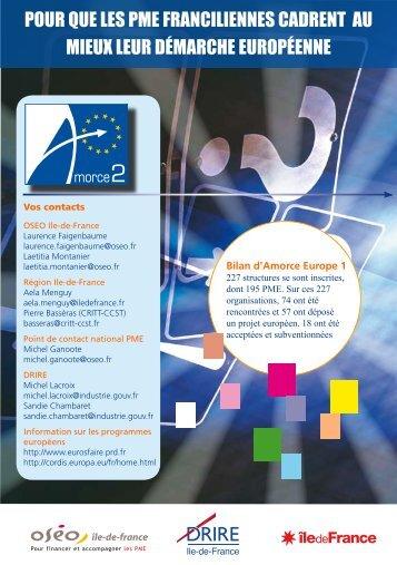 POUR QUE LES PME FRANCILIENNES CADRENT AU ... - Eurosfaire