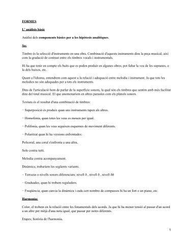 FORMES L' anàlisis bàsic Anàlisi dels components bàsics per a les ...