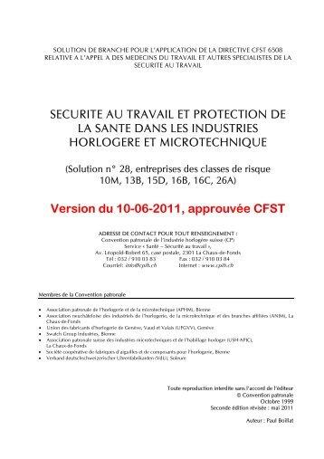 SECURITE AU TRAVAIL ET PROTECTION DE LA SANTE DANS ...