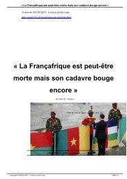 La Françafrique est peut-être morte mais son cadavre ... - AEUD.INFO