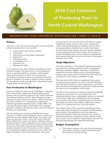 2010 Cost Estimates of Producing Pears in North Central Washington