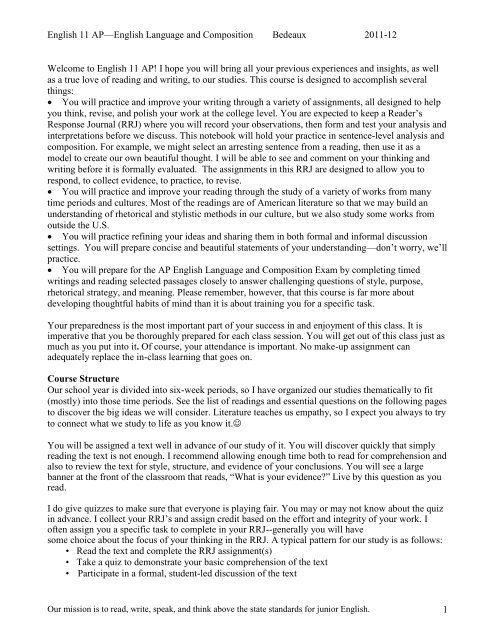 2011 ap english language and composition free response sample essays