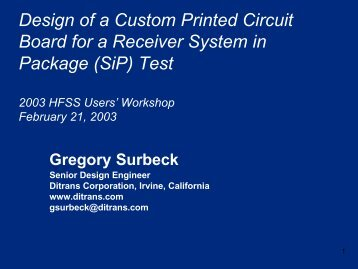Presentation - HFSS™ Simulation of a Test Board to Improve ...