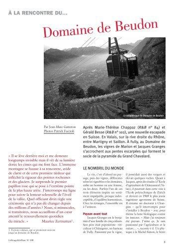 l'article du magazine Le Rouge & Le Blanc - Domaine de Beudon