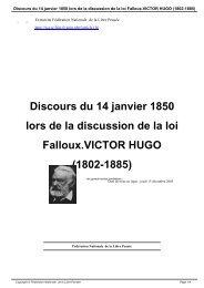 Discours du 14 janvier 1850 lors de la discussion de la loi Falloux ...