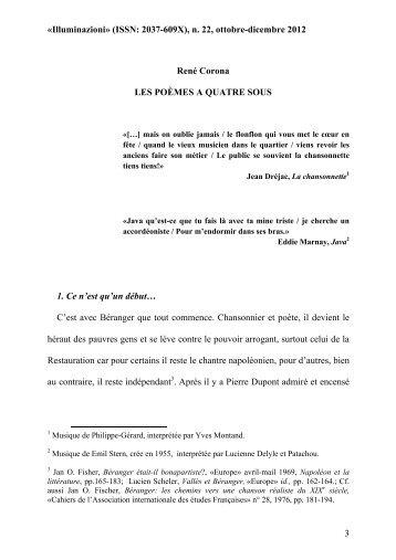 1. René Corona per ILLUMINAZIONI Les poèmes à quatre sous