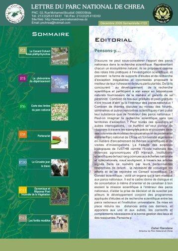 Editorial Sommaire - Le Parc National De Chréa