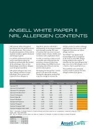 ANSELL WHITE PAPER II NRL ALLERGEN CONTENTS