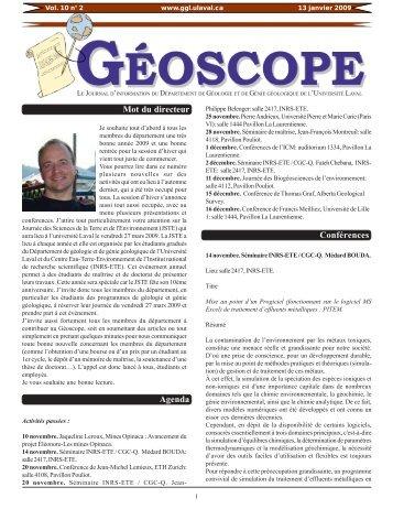 Mot du directeur Agenda Conférences - Département de géologie et ...