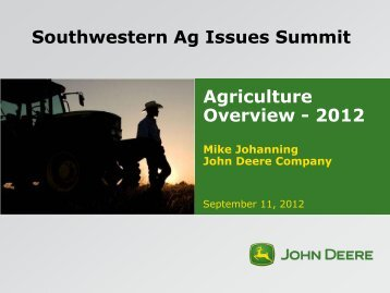 Agriculture Overview - 2012 Travis Becton John ... - Ag Issues Summit