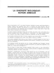 LA DIVERSITÉ BIOLOGIQUE : NOTION AMBIGUË