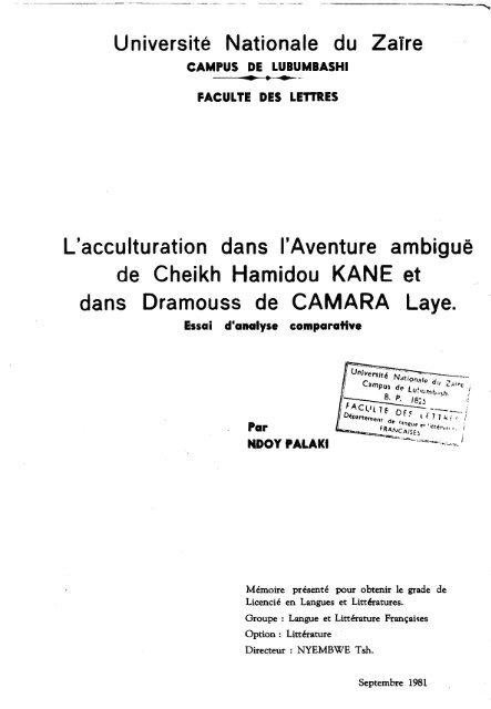 L Acculturation Dans L Aventure Ambigue De Cheikh Critaoi